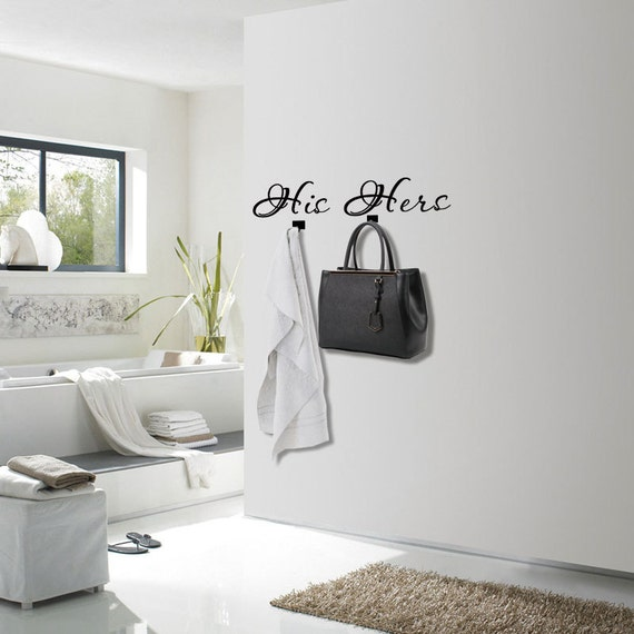 His and hers decal set of 2 bedroom wall decor master bath for Wall art for master bathroom
