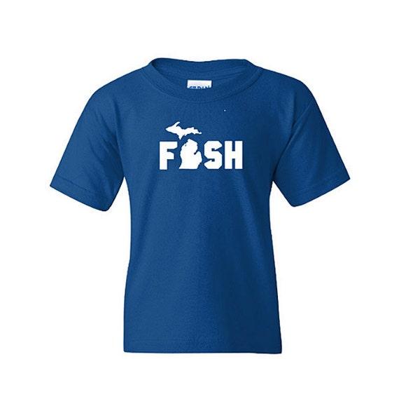 Fish michigan shirt kids michigan shirt toddler michigan for Toddler fishing shirts