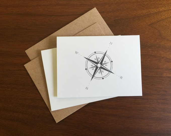 Compass Notecard Greeting Card Blank Note Card Bulk Cards Holiday Card Notecard Set Stationary Nautical Direction Gift Card Logo Free