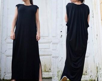 Maxi Black Dress/Oversize Black Kaftan/Sleeveless Dress with Slits/Loose Long Tunic/Spring Long Top/Black Maxi Dress/Plus Size Dress