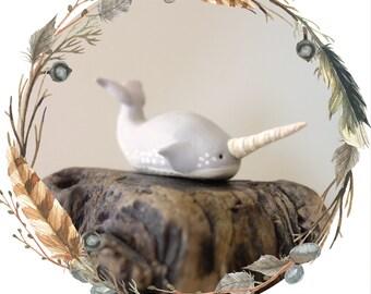 Narwhal Spirit Animal Totem // Miniature Handmade Polymer Clay Animal Figurine