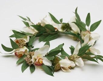 White Silk Cymbidium Orchid Flower Crown for Weddings - Bridal or Bridesmaid