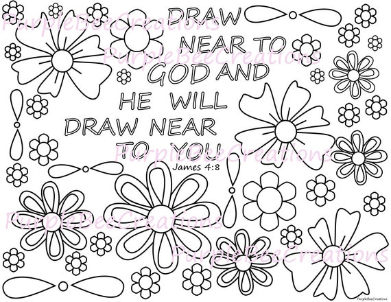 Coloring Page Bible Verse Coloring Page James 4 8