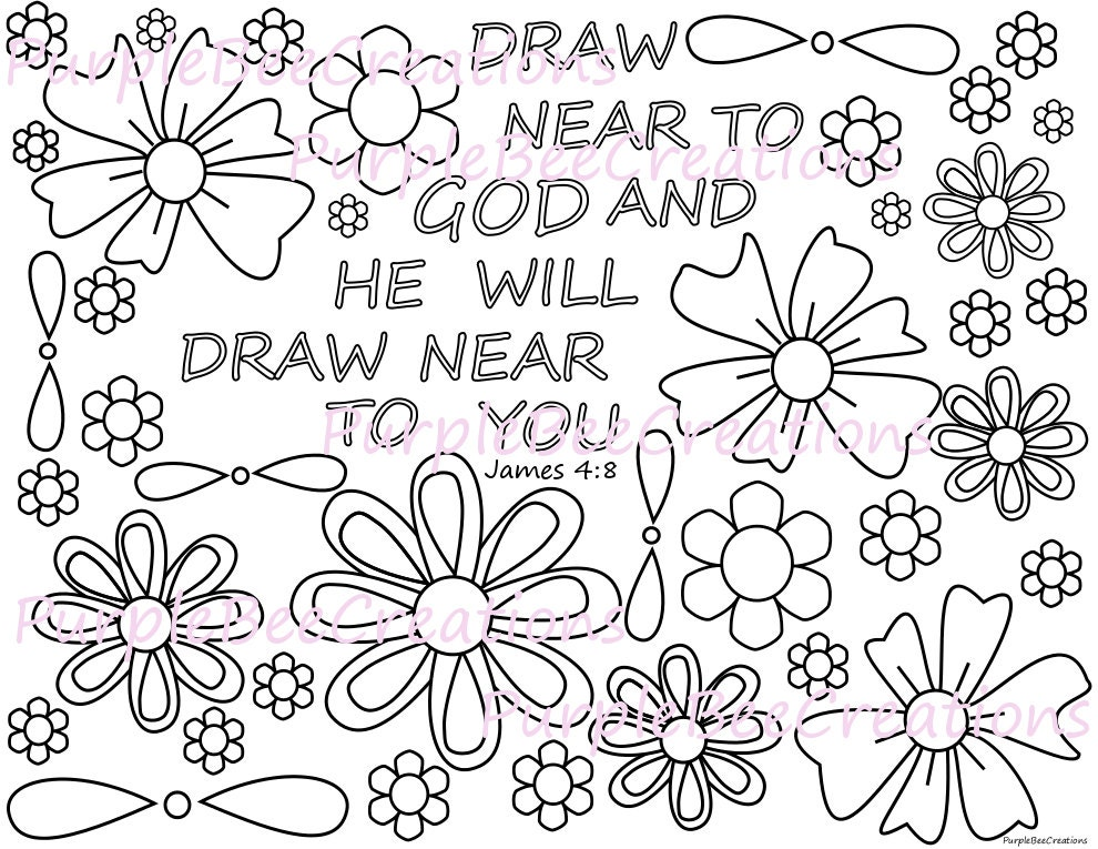 Coloring Page Bible Verse Coloring Page James 4:8