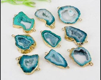 5pcs Druzy Geode Agate Slice Connectors ,Gold Plated Edge Geode agate Pendant in Green color, For Making Jewelry