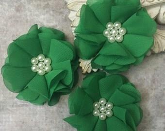 Kelly green flower, chiffon flower, pearl flower, fabric flower, headband flower, supply flower, ballerina flower