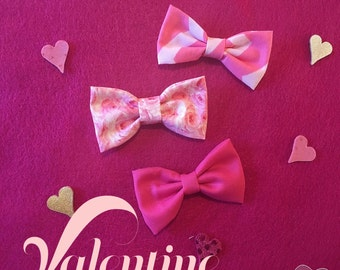Valentines Day Pink & Red Trio Headband or Hair Clips