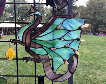 Crystal Dragon stained glass suncatcher with Pendant