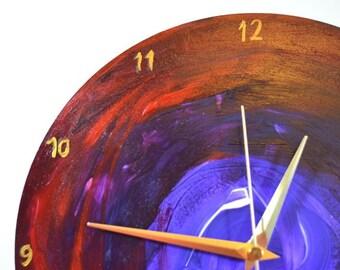 Vibrant Abstract Art Clock, Wooden Non-ticking Wall Clock, 25cm, Practical art, Purple and red art clock, handmade wall clock, Colourful art