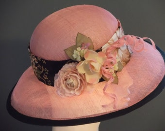Kentucky Derby hat, pink sinamay wide brim hat, silk band, floral spray, black trim, hand blocked,  derby, church, wedding, tea party, lunch