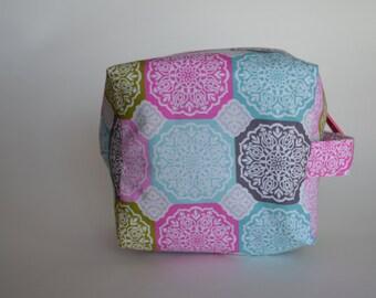 Spring Medallions Sock Cube Knitting & Crochet Project/Toiletry Box Bag