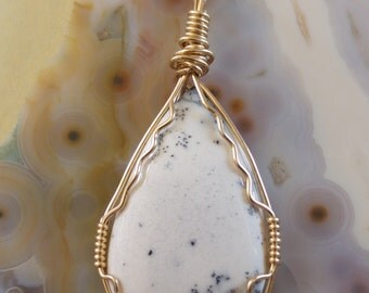 15.50ct. Natural Untreated Opal Dendrite Pendant Necklace - one of a kind Handmade 14K Goldfilled - 3 years Warranty