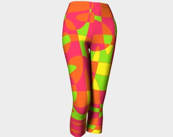SUMMER Capris Digital Art/Orange/Lime Green/Yellow/Geometric/Womens/Teens/Yoga/Exercise/Clothes/Wearable Art/Clothing/Ladies XS S M L XL