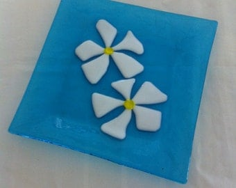 "Aqua Fused Glass Plate Serving Dish with Frangipani Flowers 8"" Square"