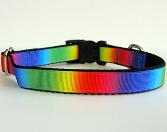 Rainbow Small Dog Collar READY TO SHIP