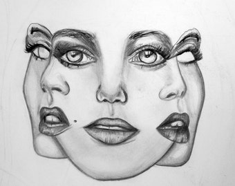 3 Heads Graphite/Charcoal Mixed Media Drawing Print
