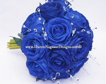 Blue, white, silver, rose, roses, bouquet, cobalt / royal blue, Real Touch flowers, silk, Bride, Groom, wedding, set