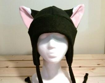 Black Fox Hat - Fox Fleece Hat - Fox Aviator Hat - Fox Earflap Hat - Fox Ear Hat - Fox Ears - Fox Cosplay - Fox Anime - Fox Costume - Manga