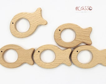 Toy teether FISH natural wood, untreated, baby gift, sensory toys,shower gift, baby toy, baby teething toy, baby teether, eco-friendly toy