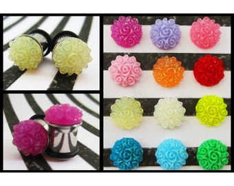 Spiral Resin Flower stainless steel EAR PLUGS earrings pick gauges and color 2g, 0g aka 6mm, 8mm