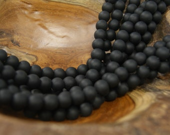Black Matt Onyx  6mm 8mm 10mm 12mm Smooth Round Gemstone Beads -15 inch strand