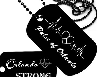 Black dog tag, Orlando Strong, One Pulse of Orlando laser engraved