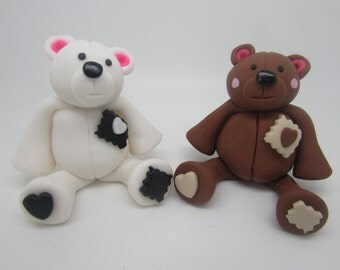 Patch bear figurines, polymer clay, Gifts, kawaii, ornaments.