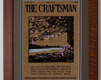 The Craftsman Blossoms Mission Style Art in Quartersawn Oak Frame