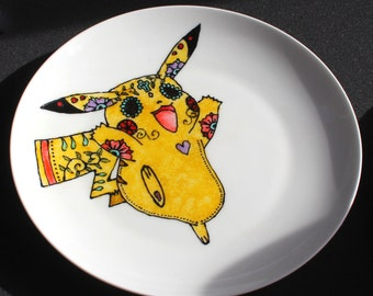 Hand painted ceramic Sugar Skull Pikachu plate, Upcycled porcelain, Pokemon, Day of the Dead, Dias de los muertos, made to order