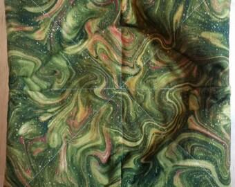 Microwave Bowl Holder -  Green/Tan/Maroon Swirls