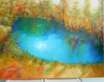 Original Oil Painting-Autumn At The Lake-Wonderful warm Fall colors fishing in lake, orange, yellows, golds, reds, blues