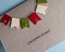 Christmas Card - Bunting, Christmas Wishes, a6 blank card, happy Christmas card