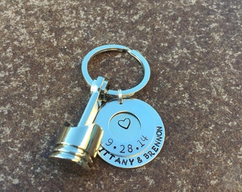 Personalized piston keychain