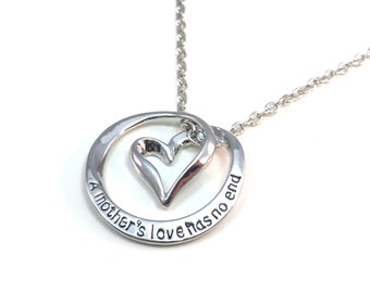 A Mother's Love Has No End Heart Necklace