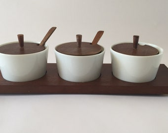 SALE! Vintage African Walnut Wood and Ceramic Serving Dishes Made in Japan