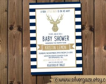 Buck Baby Shower Invitation, Blue White Gold Invite, Printable Digital File_71B