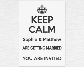 Our 'Keep Calm' Collection - Personalised Invitations - Black on White - multiple packs - personalised