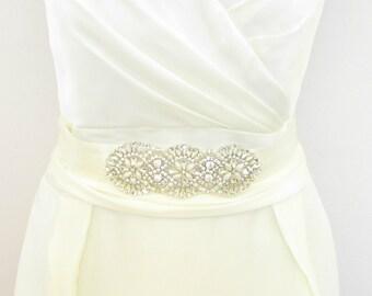 Silver Ivory White Rhinestone Diamante Pearl Bridal Belt Sash Vtg Wedding 309