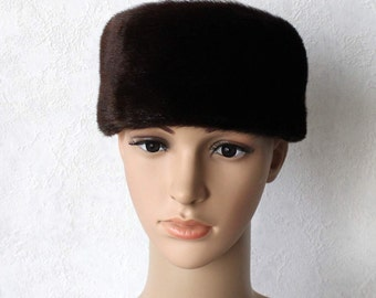 Vintage Brown Sealskin Fur Trimmed Winter Hat Russian Style Hat with Ear Flaps