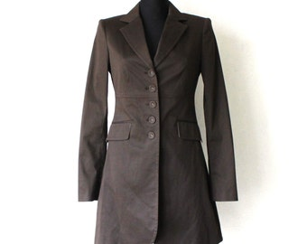 Women's Long Blazer Classic Vintage Dark Brown Trench Coat Outerwear Small Size