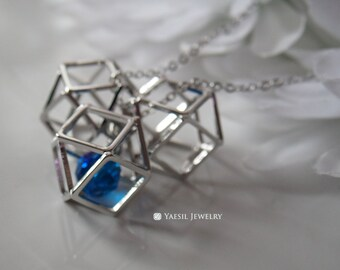 Triple 3D Polygon Necklace, Geometric Pendant Necklace with Captured Crystal, Gift for Mathematicians/Physicists/Scientists