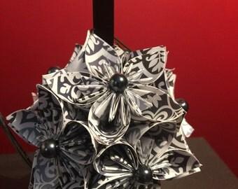 "Handmade ""Grey & Black"" Kusudama Flower Christmas Ornament"