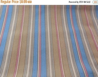 """ON SALE Vintage Beige, Blue & Pink Striped Cotton Shirting Fabric 45"""" X 64"""""""