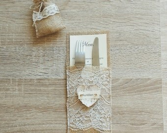 """Menu pockets """" Of jute and Lace """""""