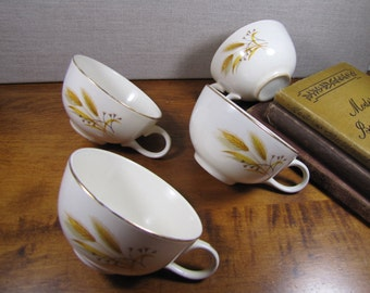 Vintage Teacups - Yellow and Brown Wheat Pattern - Gold Accent - Set of Four (4)