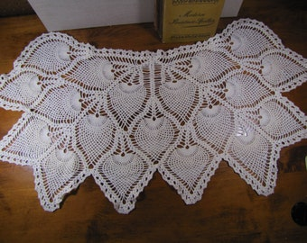 """Sofa Back Cover - Crocheted Doily - Strawberry Pattern 34"""" x 17"""""""