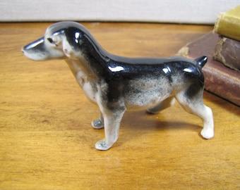 Porcelain Dog Figurine - Black and Gray