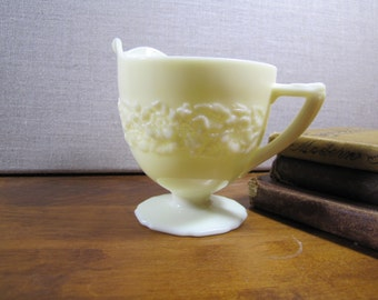 Pale Yellow Milk Glass - Embossed Footed Creamer