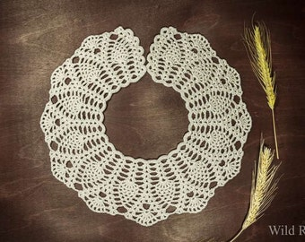 Knitted collar, necklace collar, handmade crochet collar, gift for her, gift for holidays, lace collar flax