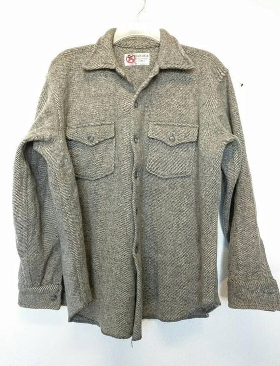 wool lumberjack shirt Northwest rustic vintage black cream herringbone weave thick field jacket early Midcentury Black Bear Seattle Large w7PtoEprUN